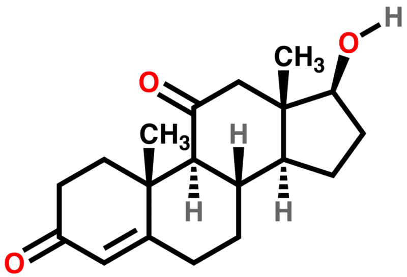 The chemical structure of 11-Ketotestosterone or 11-oxo