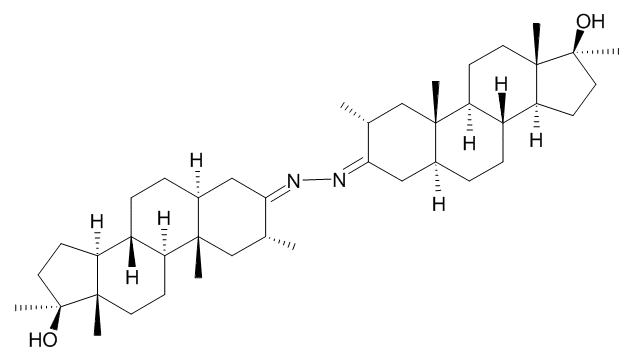 The chemical structure of Dimethazine, which is basically two (2) Superdrol molecules joined by a pair of nitrogen atoms