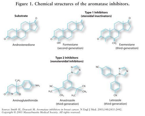 The chemical structures of aromatase inhibitors.